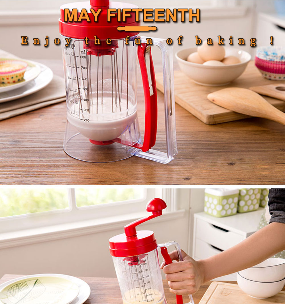 3-in-1 Manual Mixer Batter Dispenser for Cupcakes Muffins Cake Waffles Pancake Machine with Measurements Cookie Tools 010 (1)