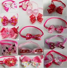 100pcs/Lot Big sale Fashion Girl Pet Dog puppy Cat Bow Ties Neckties Bowknot Valentine Grooming Products Mixed style LF05(China)