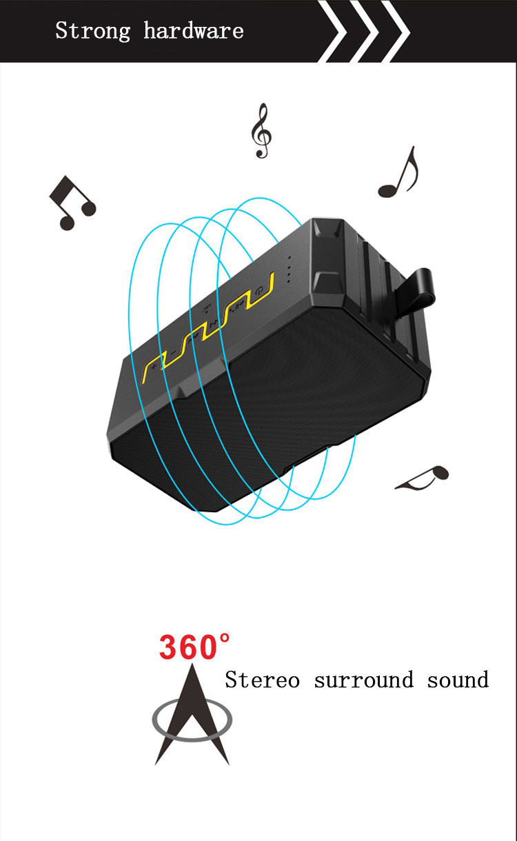 Free shipping Teal Sport Wireless Outdoor Bluetooth Speaker Support TF Card mic Waterproof IP67 2600mah Power Bank Russia