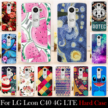 For LG Leon C40 4G LTE H340N H324 CASE Hard Plastic Mobile Phone Cover Case DIY Color Paitn Cellphone Bag Shell  Shipping Free
