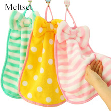 Cute Ribbon Hand Towel Kitchen Cleaning Cloth Kids Children Home Bathroom Hanging Wipe Towel