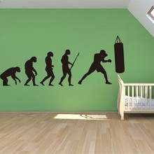 Darwin EVOLUTION OF MAN BOXING wall art vinyl sticker decal GYM GAMES ROOM Mural Wallpaper Art Pic Bedroom Decor(China)