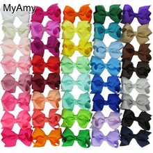 MyAmy 40pcs/lot grosgrain ribbon 3'' hair bows WITH alligator clips boutique bow for baby girls children kids teens toddle(China)
