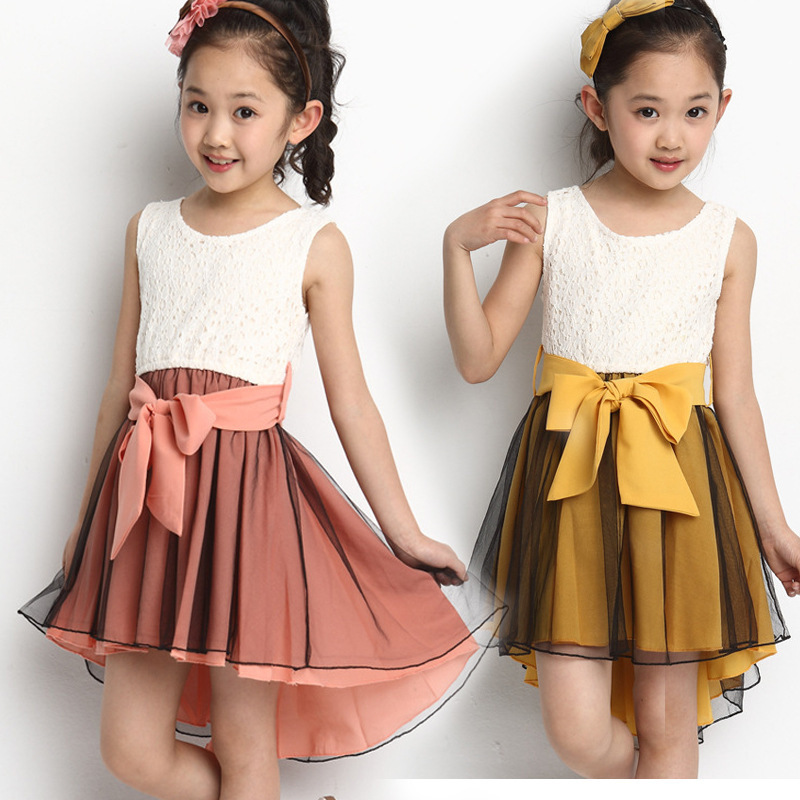 2017 Summer Fashionable Girls Dress party  Sleeveless Dresses  cute bow-knot  girls costume wire  Flowers   Baby kids clothes<br><br>Aliexpress