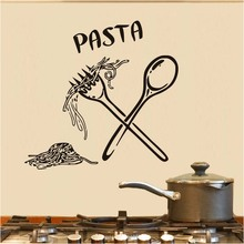 Italian Pasta Food Meal Kitchen Wall Art Stickers Spoon Folk Cafe Wall Decal Home Diy Decoration Removable Decor Wall Stickers(China)