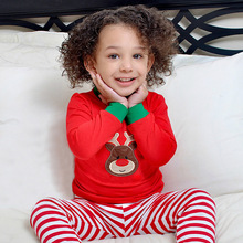 Christmas Childrens Sets Baby 2017 Striped Outfits Kids Deer Jumper T-shirts with Striped Pants Kids Autumn Pajamas