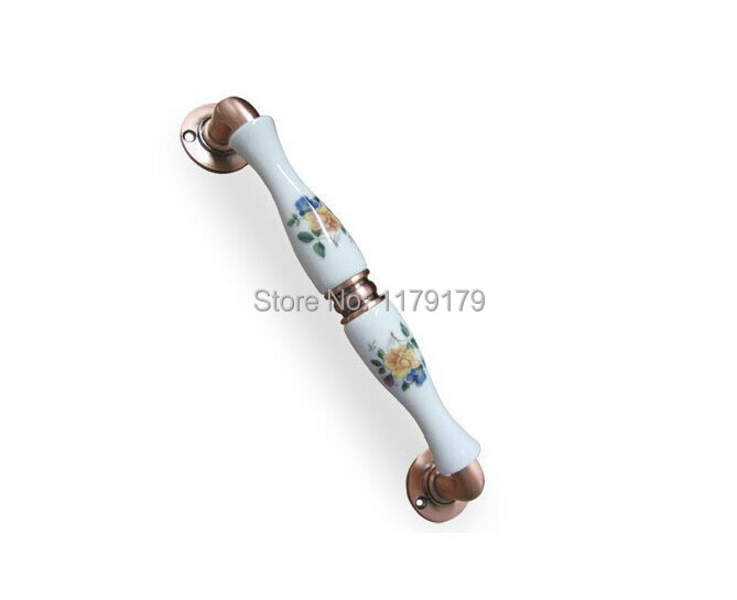 free shipping 250mm European pastorale style ceramic with antique zinc alloy KTV home office wooden door unfold install handles<br>