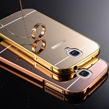 For Galaxy S4 case Luxury Mirror Aluminum Bumper Case For Samsung galaxy S4 S5 S6 S6 edge note 2 3 Metal Frame Back Cover