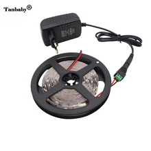 Tanbaby 5M Flexible LED Strip light Kit with 24W Power Adapter Non-waterproof Flexible led Rope SMD 2835 5050 DC12V White tape(China)