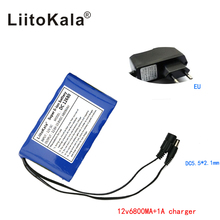 Liitokala Portable Super Rechargeable Lithium Ion battery pack capacity DC 12 V 6800 Mah CCTV Cam Monitor free shipping
