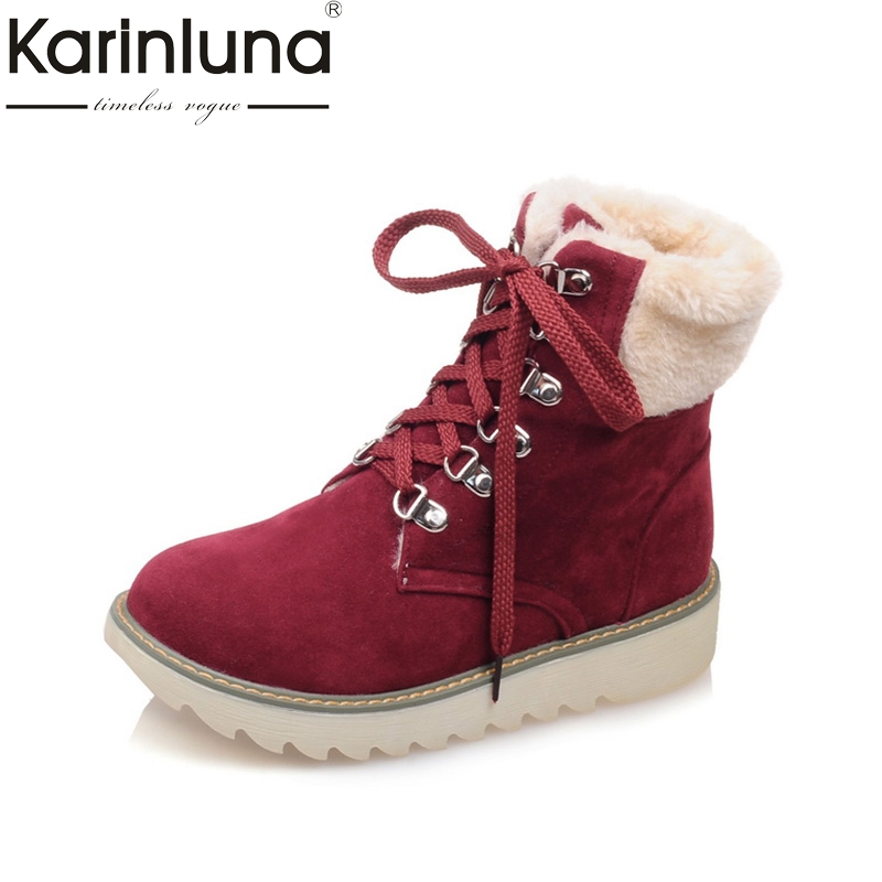 KARINLUNA 2017 large size 33-43 flat heels women shoes woman leisure warm fur snow boots ankle boots lady footwear<br>