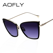 AOFLY New Fashion Women Sunglasses Cat  Mirror Glasses Metal Cat Eye Sunglasses Women Brand Designer High Quality Square Style