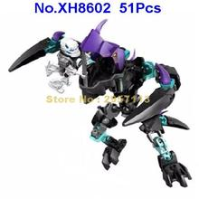 XH8602 51pcs Jaw Beast Vs. Stormer Hero Factory Brain Attack Walker Toy Invasion From Below Building Block Brick Toy(China)