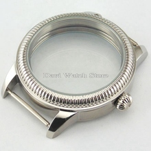 44mm Watch Sterile silver Case 316L steel Fit eta 6497/6498 Seagull ST36 Movement watches