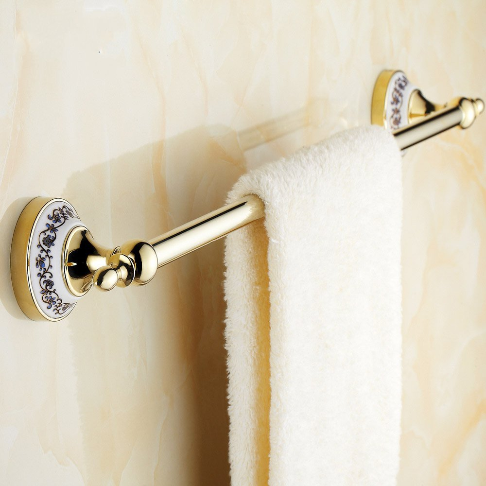 2015 Single Fasion 60cm Bathroom Towel Rack And Ceramic Accessories of Golden Bar Real Rushed Prateleira Cobre Leito Casal<br>
