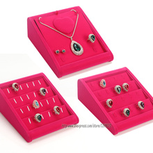 Fashion Rose Red Velvet Jewelry Holder Ring Display Tray Necklace Showing Rack Earring Showcase Bracelet Organizer