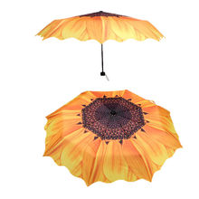 PHFU Unique Elegant Women Sunscreen Sunflower Super Block Sun Rain Folding Umbrella