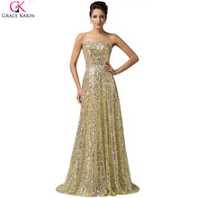 Celebrity Dresses Red Carpet Dress Grace Karin Strapless Glitter Elegant Long Formal Gowns Golden Sequin Evening Party Dresses