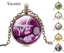 Fashion Pokemon Ball Necklaces Jewelry Espeon Glass Pendant Eevee Statement Necklaces Bronze Chain Pokeball Pocket Necklaces