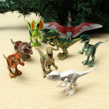 8PCS Diferent Dinosaur World Plastics Kid Baby Toy Building Blocks Brick Educational Toys For Children Kids Set