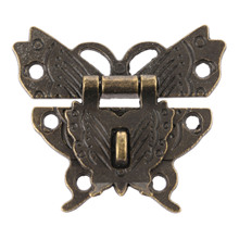 1Pc Antique Butterfly Box Latch Decorative Jewelry Box Hasp Lock Latch With Screw Vintage Hardware for Furniture Drawer 50*43mm