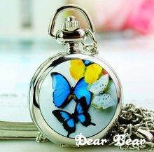 (6016S) Victorian Style Silver Mirror Butterfly Pocket Watch Necklace .12 pcs/lot(China)