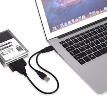 Hot New Portable Size Dual USB To SATA Line USB2.0 Data and Power Cable Adapter