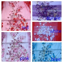 New fashion 5color sparkling sequins handmade 3D flowers on netting Embroidery Collar Decals Decoration 45cm X 90cm By piece