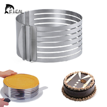 FHEAL Adjustable Stainless Steel Circle Cake Mold Bake Layer Slicing Kit Pastry Baking Tools For Cake Mold(China)