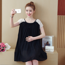 Best Selling Summer Maternity Dress Hollow Out Lace Pregnant Dress Loose Maternity Gown Pregnancy Clothes 9109(China)