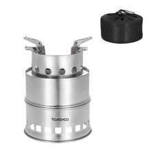 TOMSHOO Portable Stainless Steel Wood Burning Camping Stove Solid Alcohol Stove Survival Backpacking Wood Burning Cooking Stove(China)