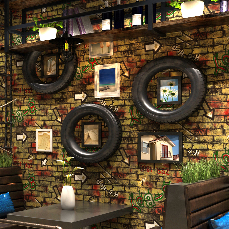 Vintage 3D Brick Pattern Wallpaper Red Brick Wall Personality Graffiti Cafe Restaurant Wall Decor Art Wall Paper Papel De Parede<br>