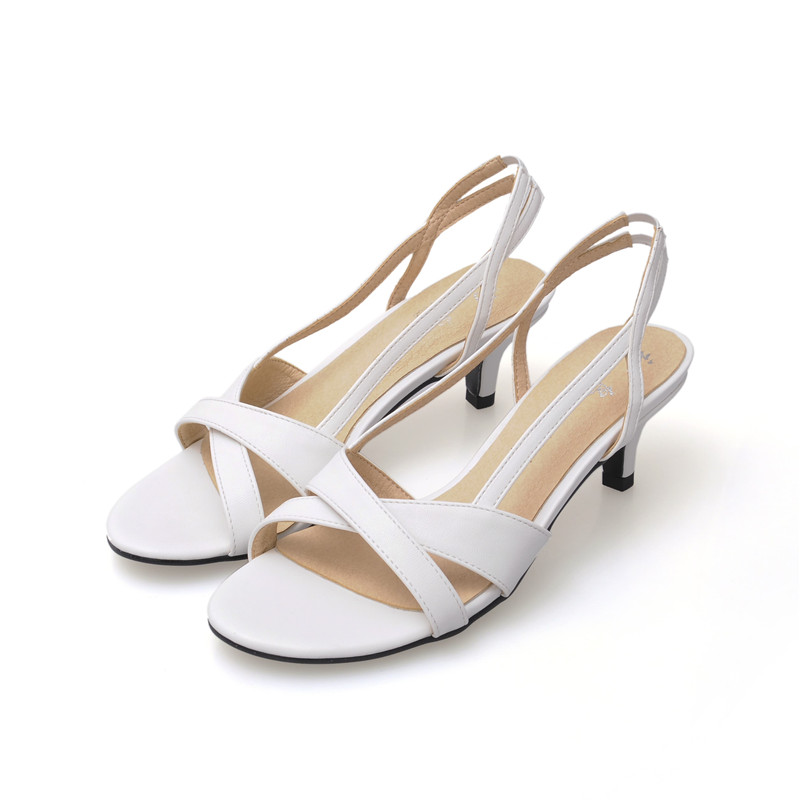 New Arrival 2017 Women Summer Sandals Cross Strap High Heels Sexy Woman Shoes Slip-on Wedding Party Sandals Black White Colors<br>