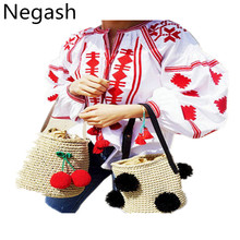 Negash Loose autumn spring V-neck embroidery bohemian blouses top lantern puff sleeve shirt tassel cotton handmade flowers(China)