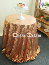 Good News!! 125cm Luxury Shiny Round Rose Gold Tablecloth,Sequin Fabric Tablecloth Size & Color are available