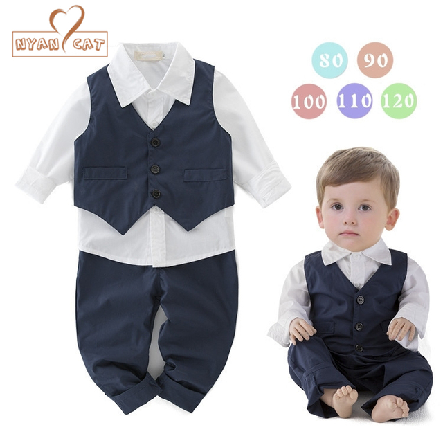Nyan Cat Baby Boys Wedding Clothes Birthday Boy Outfit Blue Vest White Shirt Pants