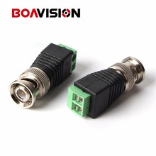 50Pcs/lot Coax CAT5 To Camera CCTV BNC Video Balun Connector to BNC Male Coax Coaxial Connector CCTV BNC Male to Terminal