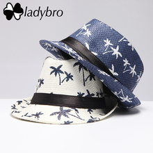Ladybro Brand Men Sun Hat Casual Panama Cap Men Beach Straw Hat Summer Jazz Fedora Coconut Tree Bucket Hat For Male Visor Cap(China)