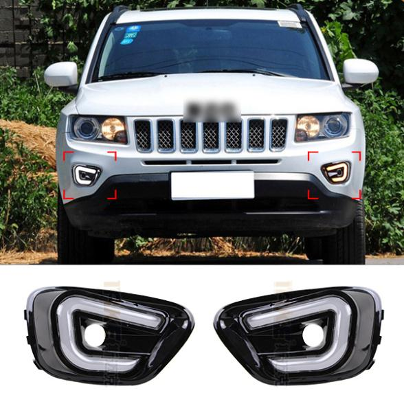 LED Guiding light Car Styling DRL For Jeep Compass 2011 2012 2013 2014 Daytime running lights High Quality Free shipping<br><br>Aliexpress