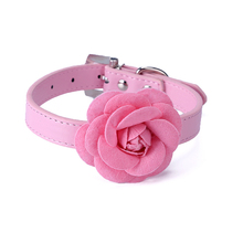 5 color Flower Cat Dog Collar Necklace PU Leather Dog Pet Puppy Collars Pink Red Purple Blue Rose Neck Strap Free Shipping(China)