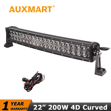 "Auxmart CREE Chips 22"" 200W Curved LED Light Bar Offroad Light Bar Combo Beam for Pickup Truck SUV ATV Wagon 4WD 4X4 RZR Light"