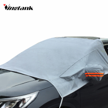 Car Windshield Snow Cover PEVA Sun Cover Tarp with Mirror Cover Reflective Stripe Remove Ice Frost in Winter for SUV Truck(China)
