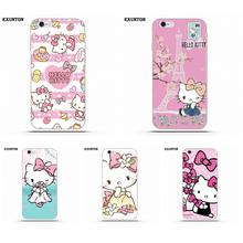 Exunton Hello Kitty Sanrio For Apple iPhone 4 4S 5 5C SE 6 6S 7 8 Plus X Soft TPU Cell Phone Cover Case(China)