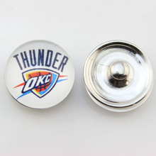 Fashion Basketball NBA Oklahoma City Thunder Snap Button Sports Charms for DIY 18mm Snap Bracelet Jewelry 10pcs/lot