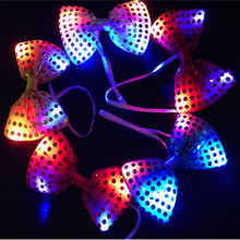 2017 Real Favors And Gifts 10pcs/lot Led Neck Tie Glow Flashing Man Or Women Light Up Party Bow Toys Event Birthday Supplies