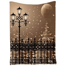 Lantern Decor Tapestry Winter Scenery From Iron Fences City Evening Snow And Lanterns Full Moon Graphic, Bedroom Living Room Dor(China)