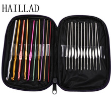 Metal needles set Hand Crochet Knitting Needle Tools with Bag 22pcs Stainless Aluminum Handle Hook Knit Weave Needlework for Swe(China)