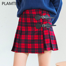 PLAMTEE Classic England Red Plaid Skirt College Preppy Mini Pleated Girl Skirt 2017 Fashion Student High Waist Zipper Short Saia