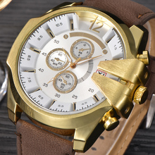 100pcs/lot XI Luxury Brand Watches Mens Leather Strip Quartz Wrist Watch Male Big Face Gifts Clock Man Golden Watch 0210