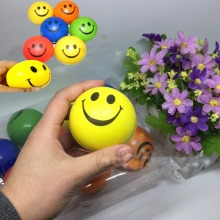 12Pcs Smile Face Print  Sponge Foam Ball Squeeze Stress Ball Relief Yoga Gym Fitness Toy Hand Wrist Exercise PU Rubber Toy Balls